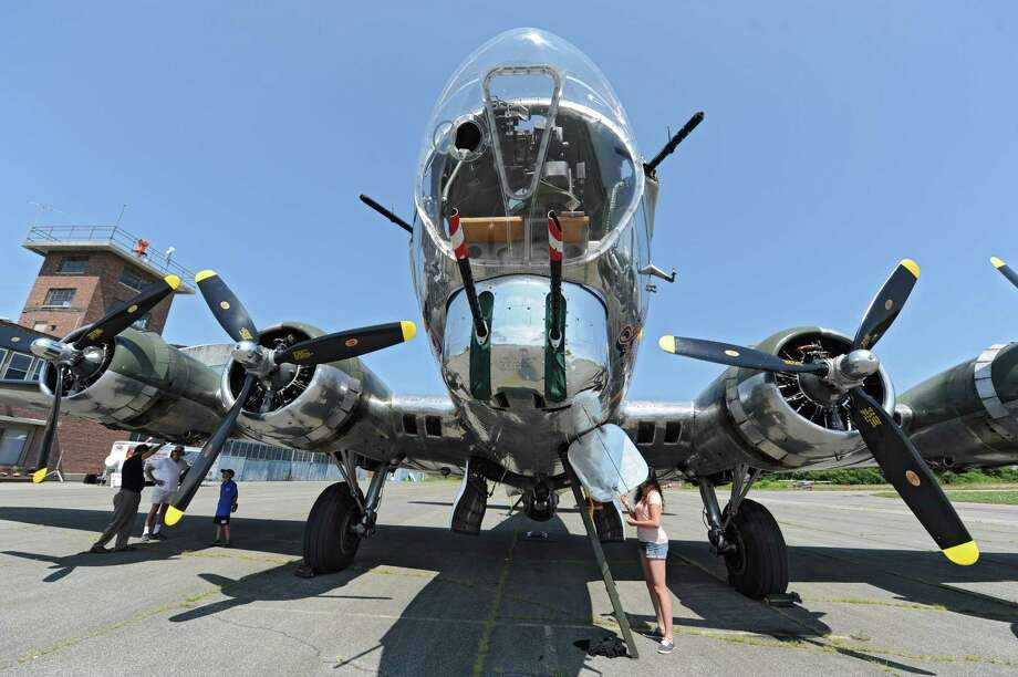 People tour a B-17G plane at the Empire State Aerosciences Museum on Monday, Aug. 11, 2014 in Glenville, N.Y. The museum is marking its 30th year. (Lori Van Buren / Times Union) Photo: Lori Van Buren / 00028120A