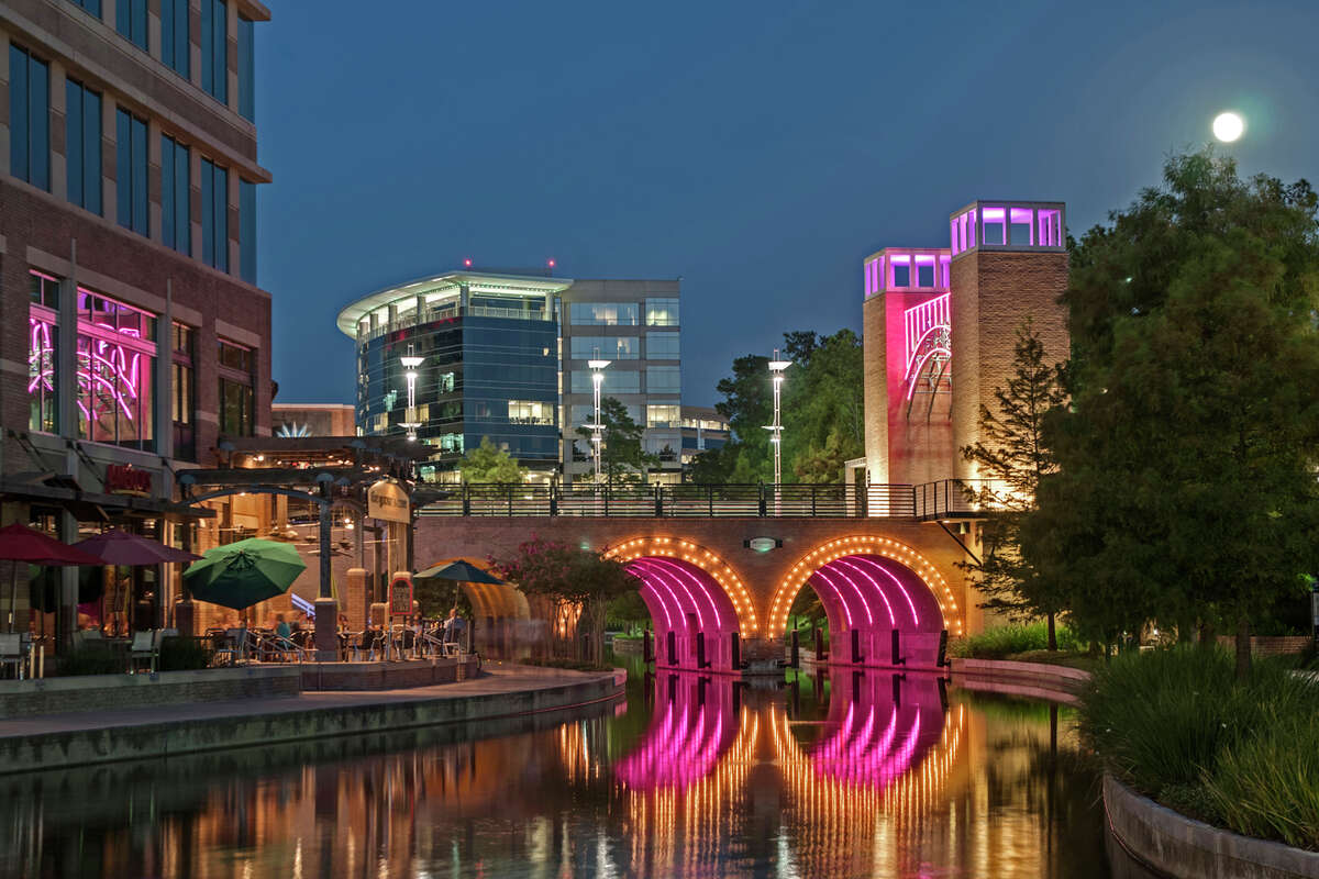 The Woodlands Waterway in the suburb's town center development is an example of urbanism in the suburbs.