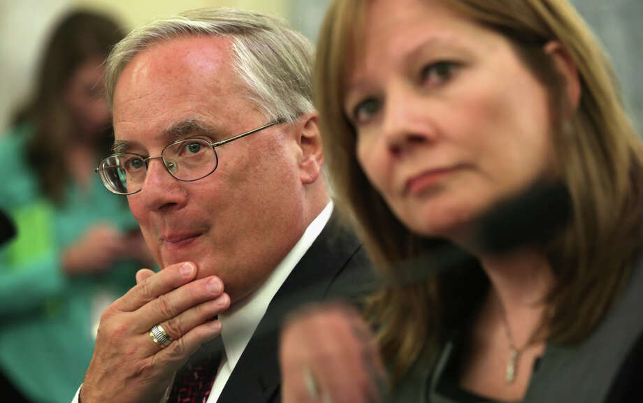 GM general counsel Michael Millikin and CEO Mary Barra testify at a Senate product safety subcommittee hearing in July. Photo: Alex Wong, Staff / Getty Images / 2014 Getty Images