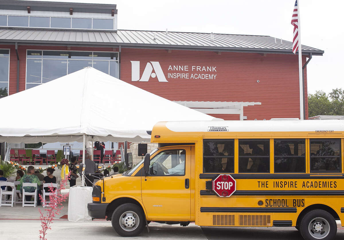 School buses filled with attendees dropped off crowds for the opening of the Anne Frank Inspire Academy on June 12, which would have been Anne Frank's 85th birthday.