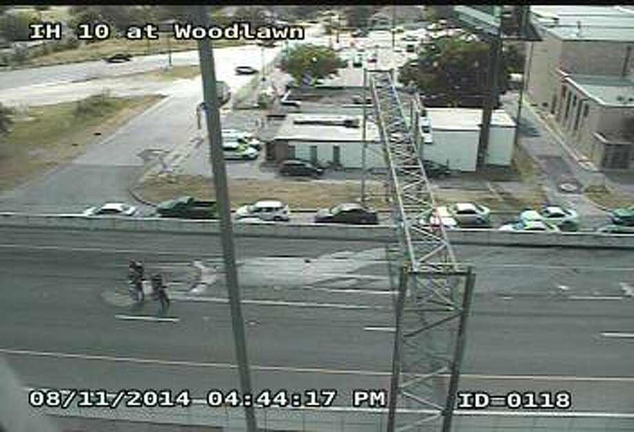 A major crash on westbound Interstate 10 near Woodlawn Avenue has shut down the upper deck of the roadway, according to the Texas Department of Transportation. Photo: TxDOT