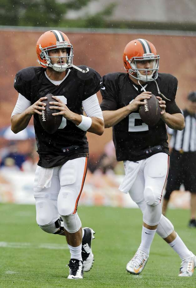 Brian Hoyer (left) has been taking most of the Browns' first-team snaps. Photo: Mark Duncan, Associated Press