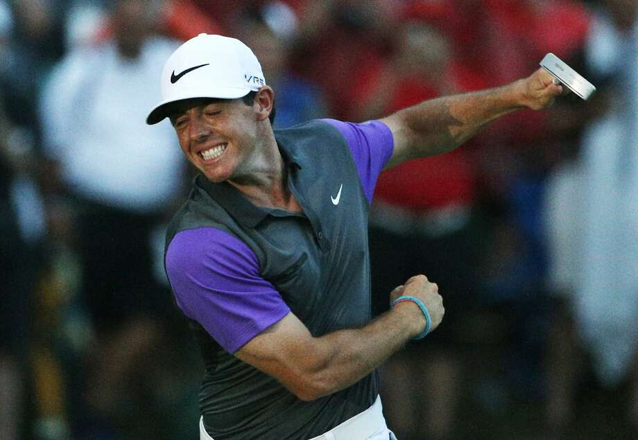 Rory McIlroy celebrates after shooting 3-under 68 Sunday to win the PGA Championship in Kentucky. Photo: Mike Groll, Associated Press