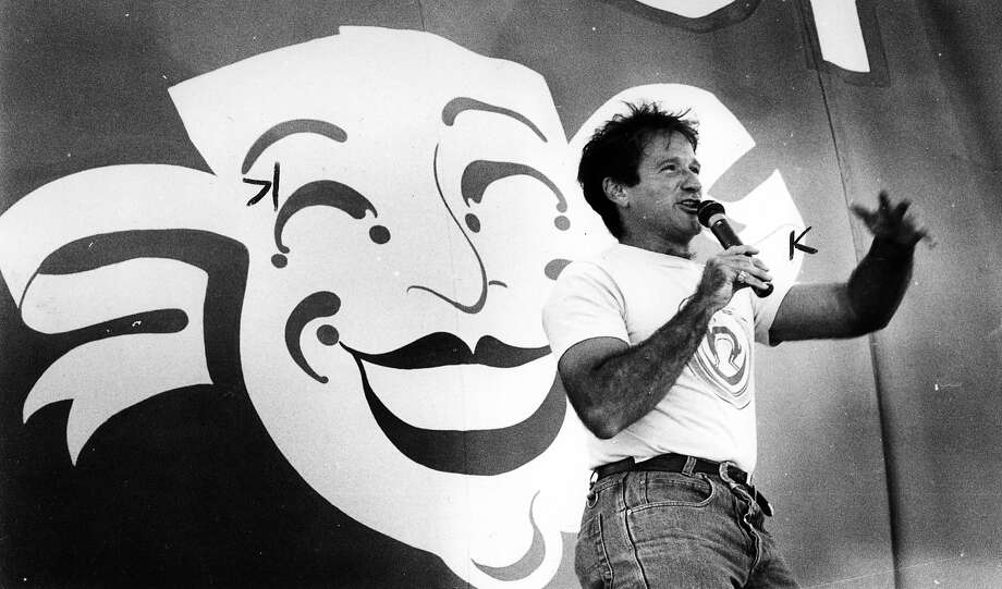 Robin Williams on Chronicle Comedy Day - July 25, 1987. Polo field, Golden Gate Park. Photo: Deanne Fitzmaurice, The Chronicle