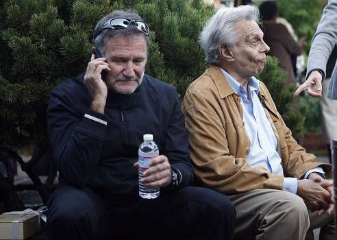 Comedians Robin Williams (left) and Mort Sahl (right) attend opening the opening night party of the Mill Valley Film Festival at the Outdoor Art Club in Mill Valley,  California, on Thursday, October 6, 2011. Photo: Liz Hafalia, The Chronicle