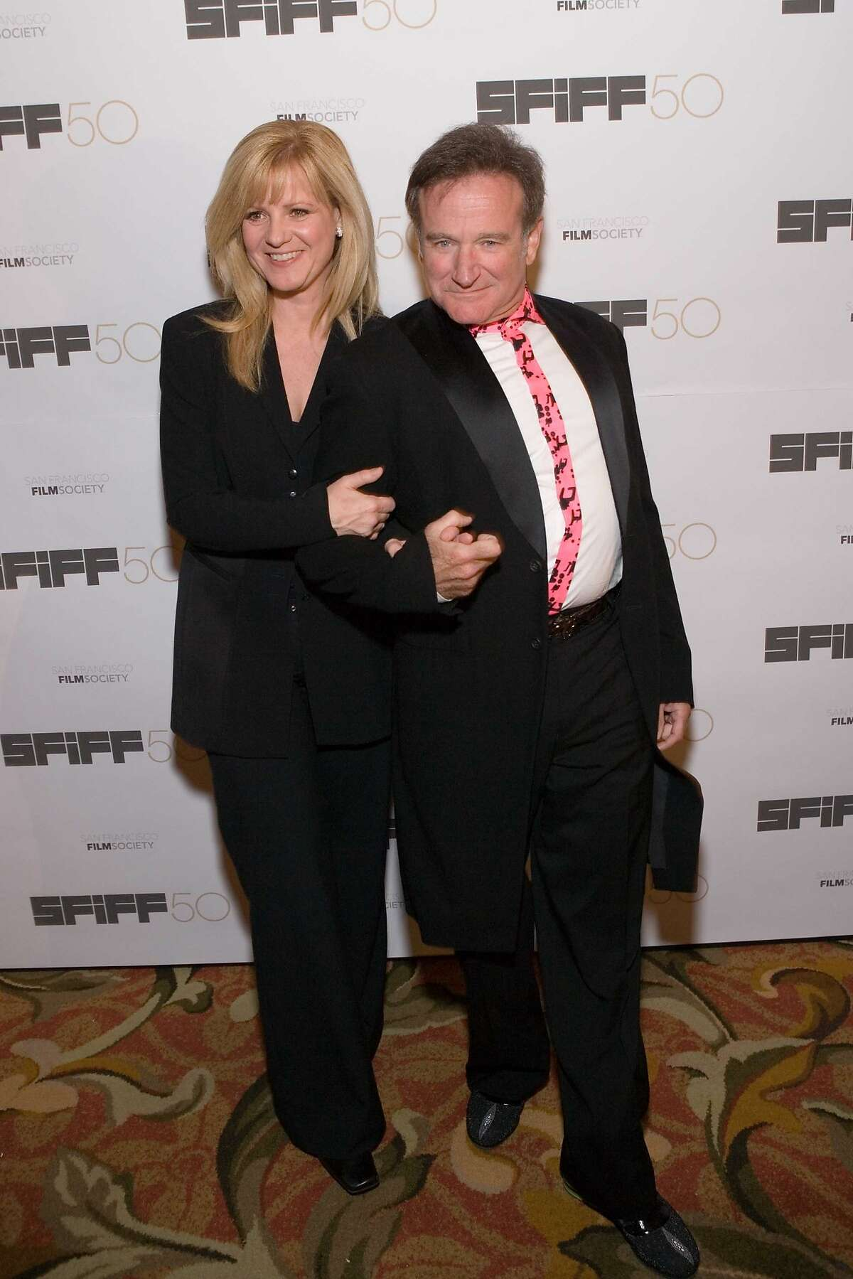 The San Francisco Film Society hosted its 50th Awards Gala at the St. Francis Hotel. From left: Comedian Bonnie Hunt presented the Film Award to Robin Williams..