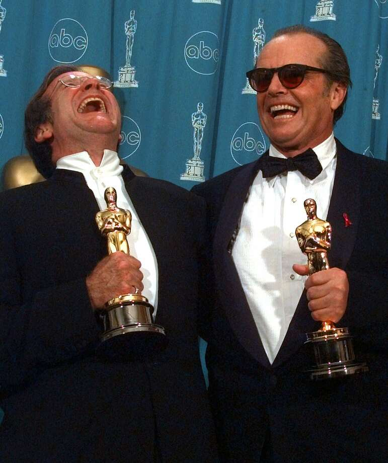 "Jack Nicholson, right, and Robin Williams share a laugh as they pose with their Oscars at the 70th annual Academy Awards at the Shrine Auditorium in Los Angeles, Monday, March 23, 1998. Nicholson won for his role in ""As Good As It Gets"" and Williams for his role in ""Good Will Hunting."" Photo: Reed Saxon, Associated Press"