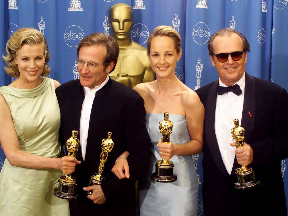 "Holding their Oscar awards for acting, (L to R) Kim Basinger, Robin Williams, Helen Hunt and Jack Nicholson celebrate their success following the 70th Annual Academy Awards, March 23 in Los Angeles. Basinger won best supporting actress for her role in ""L.A. Confidential,"" Williams won best supporting actor for ""Good Will Hunting,"" Hunt won best actress for her role in ""As Good As It Gets,"" and Nicholson won best actor for his role in ""As Good As It Gets."" Photo: Blake Sell"