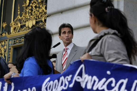 State Sen. Mark Leno speaks at a City Hall rally to urge the state to spend $5 billion more on education and social services, in San Francisco, Calif. on Friday, May 2, 2014.