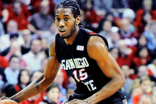 Copy photo of Kawhi Leonard in college at San Diego State.