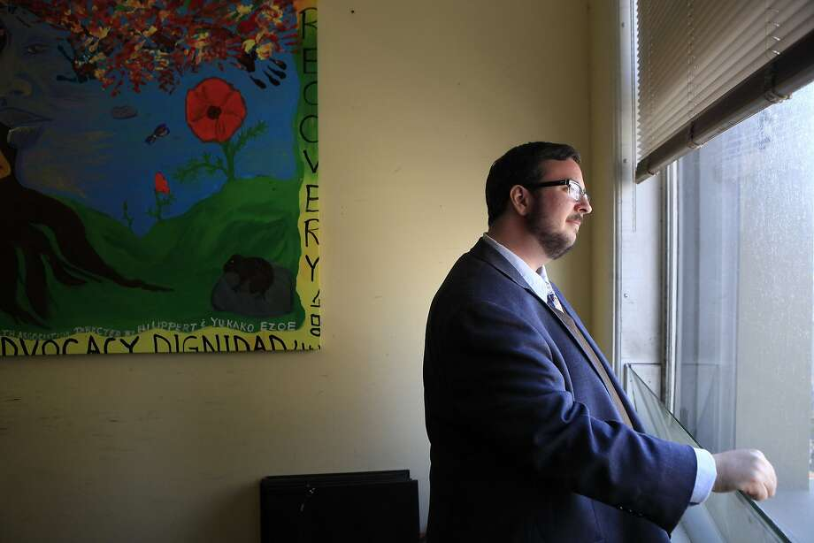 Julian Plumadore helps others with mental health challenges through the Mental Health Association of San Francisco. Photo: Michael Short, The Chronicle