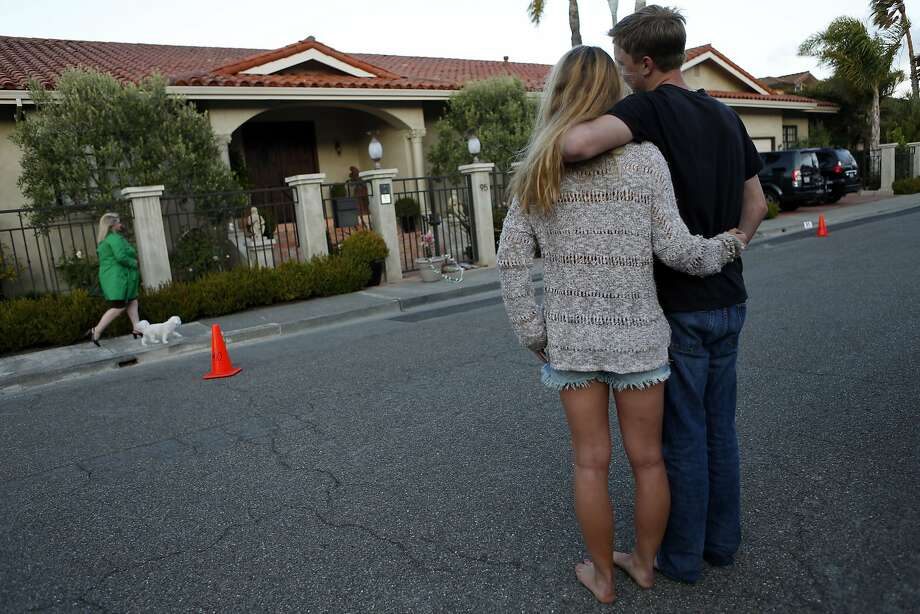 Two Area Residents Stand Near The Home Of Robin Williams In Tiburon, Calif.  On