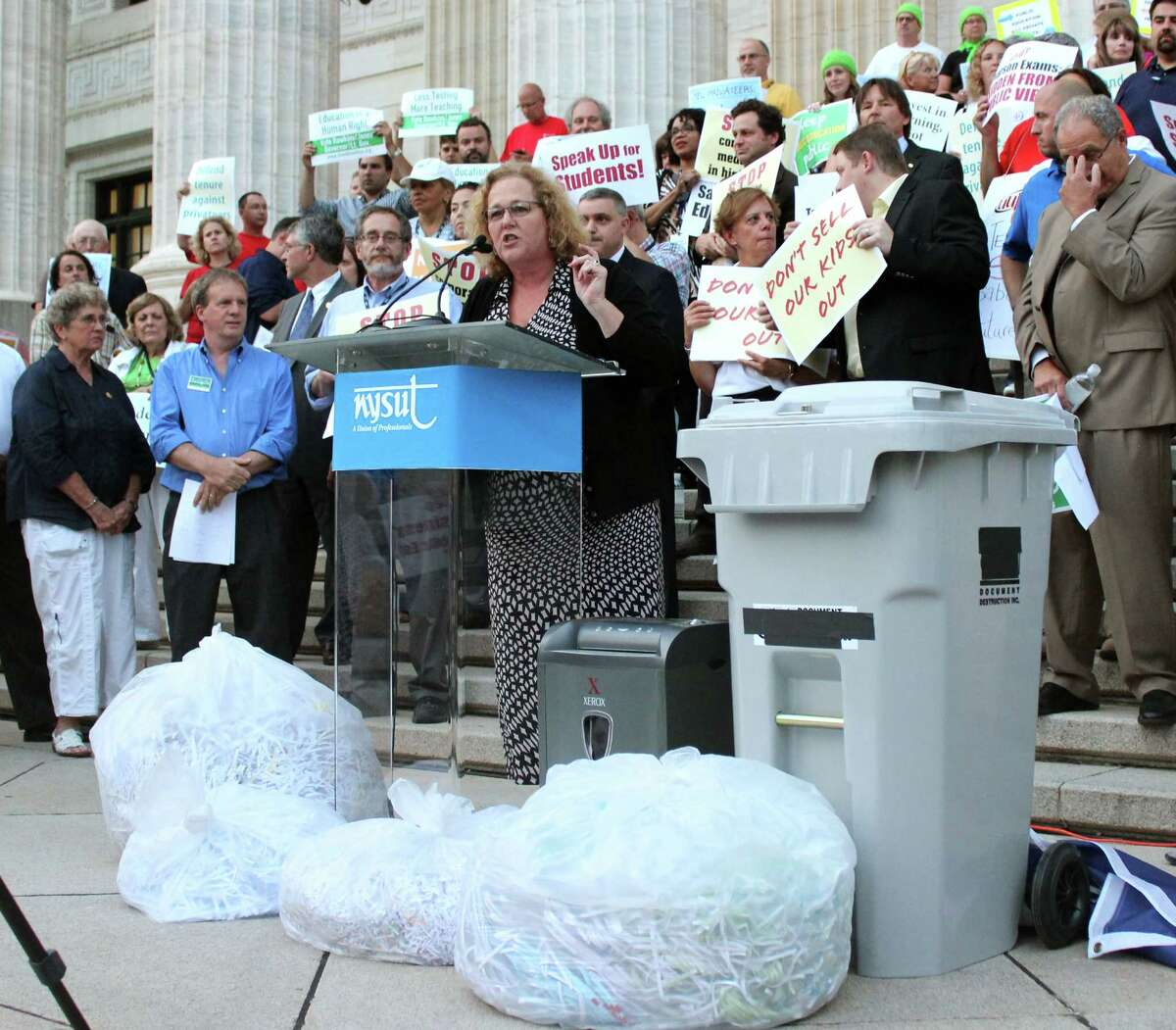 NYSUT President Karen E. Magee speaks at the protest against the common core test contracts outside of the NYS Education Department on Monday evening, August 11, 2014, in Albany N.Y. (Selby Smith/Special to the Times Union)