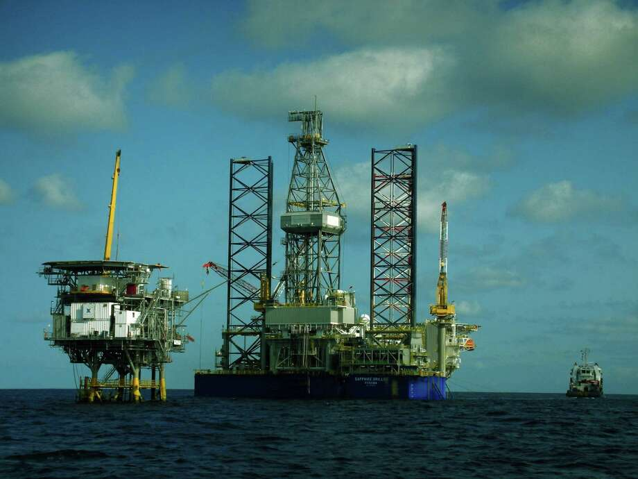 A drilling rig moves toward Vaalco Energy's Ebouri platform off Gabon, a West African nation where two other Houston companies announced exploration deals. Photo: Vaalco Energy