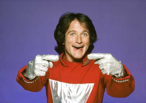 "The character of Mork, an alien from the planet of Ork, became so popular from an episode of ""Happy Days"" that it was spun-off into this series starring Robin Williams in the lead role (his first major acting break). The misfit alien was sent to study Earthlings by his fellow Orkans. Landing in a giant eggshell, near Boulder, Colorado, he was befriended by Mindy McConnell, who helped him adjust to Earth's strange ways. Photo: Jim Britt, ABC Photo Archives/Getty Images"