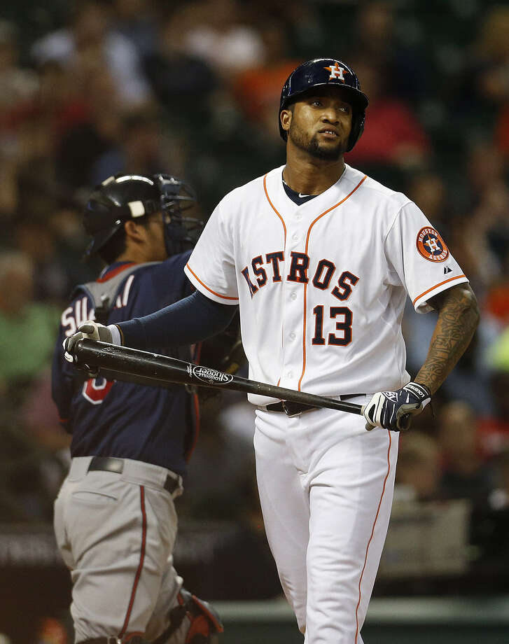 Domingo Santana, who has struck out 14 times in 17 at-bats in the majors, reacts after whiffing in the fourth inning. Photo: Karen Warren / Houston Chronicle / © 2014 Houston Chronicle