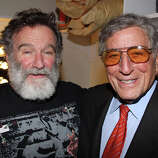 "Robin Williams and Tony Bennett pose backstage at the hit play ""Bengal Tiger At The Baghdad Zoo"" on Broadway at The Richard Rogers Theater on May 4, 2011 in New York City."