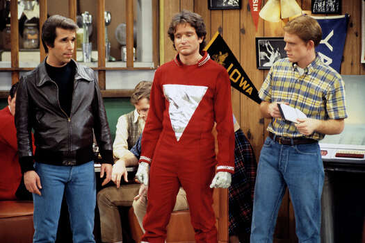 "This is the first appearance of the alien Mork from Ork (Robin Wiliams, center), which earned him and Williams his own spin-off series, ""Mork & Mindy"". Mork came to Earth looking for someone to study and picked Richie (Ron Howard, right). Henry Winkler (Fonzie) also starred. Photo: ABC PHOTO ARCHIVES, Getty Images / ©1978, ABC Photo Archives. All rights reserved. For editorial use only. NO ARCHIVING, NO RESALE."