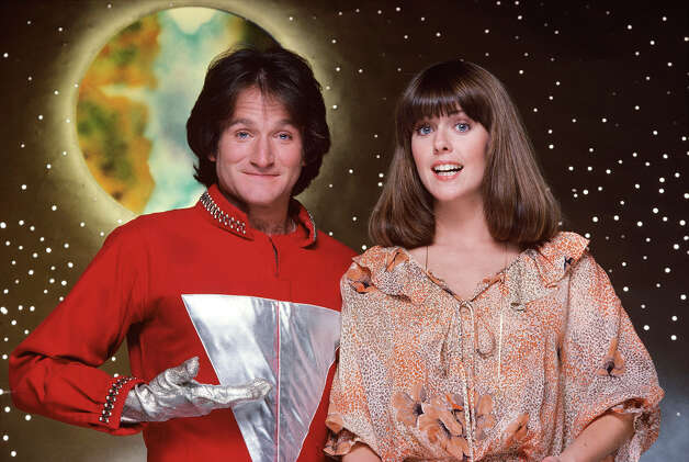 "The character of Mork, an alien from the planet of Ork, became so popular from an episode of ""Happy Days"" that it was spun-off into this series starring Robin Williams in the lead role (his first major acting break). The misfit alien was sent to study Earthlings by his fellow Orkans. Landing in a giant eggshell, near Boulder, Colorado, he was befriended by Mindy McConnell (Pam Dawber), who helped him adjust to Earth's strange ways. Photo: JIM BRITT, Getty Images / ©1978, ABC Photo Archives. All rights reserved. For editorial use only. NO ARCHIVING, NO RESALE."