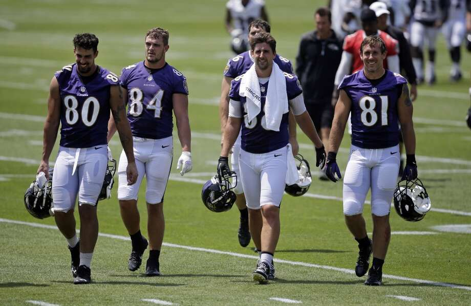 Owen Daniels (81), TE New team: Ravens Drafted by the Texans in the 4th round (98th overall) of the 2006 NFL draft. Daniels appeared in 100 games, including 96 starts for the Texans in his career. He hauled in 385 catches for 4,617 yards and 44 TDs as a Texan. The Ravens visit NRG Stadium to face the Texans in Week 16 (Dec. 21) of the regular season. Photo: Patrick Semansky, AP