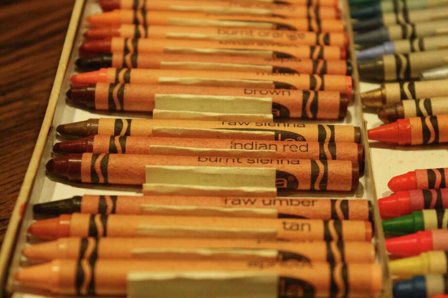 A long box of crayons in Gwyn's collection includes a few rare colors such as Indian Red, now known as Chestnut, and Raw Umber, which was discontinued. Photo: Jen Sansbury
