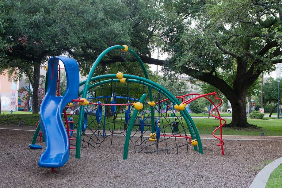 This slide and climbing apparatus were installed during recent renovations and upgrades to Baldwin Park in Midtown. Photo: R. Clayton McKee, Freelance / © R. Clayton McKee