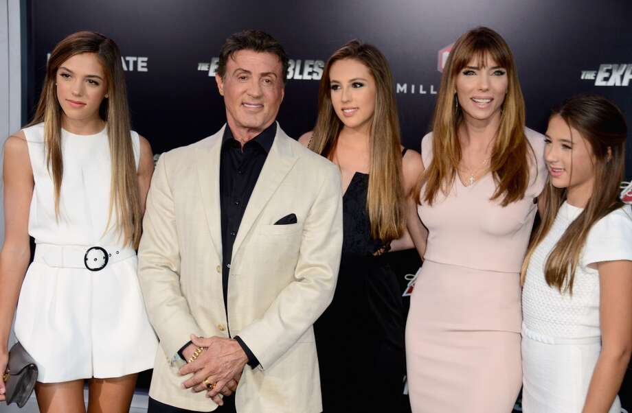 "(L-R) Sistine Rose, actor Sylvester Stallone, Sophia Rose Stallone; Jennifer Flavin Stallone and Scarlet Rose Stallone attend Lionsgate Films' ""The Expendables 3"" premiere at TCL Chinese Theatre on August 11, 2014 in Hollywood, California. Photo: Frazer Harrison, Getty Images"
