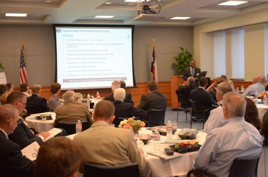 About 45 people attended a bank executives' educational forum held Tuesday at the Houston branch of the Federal Reserve Bank of Dallas. Photo courtesy of the Federal Reserve Bank.