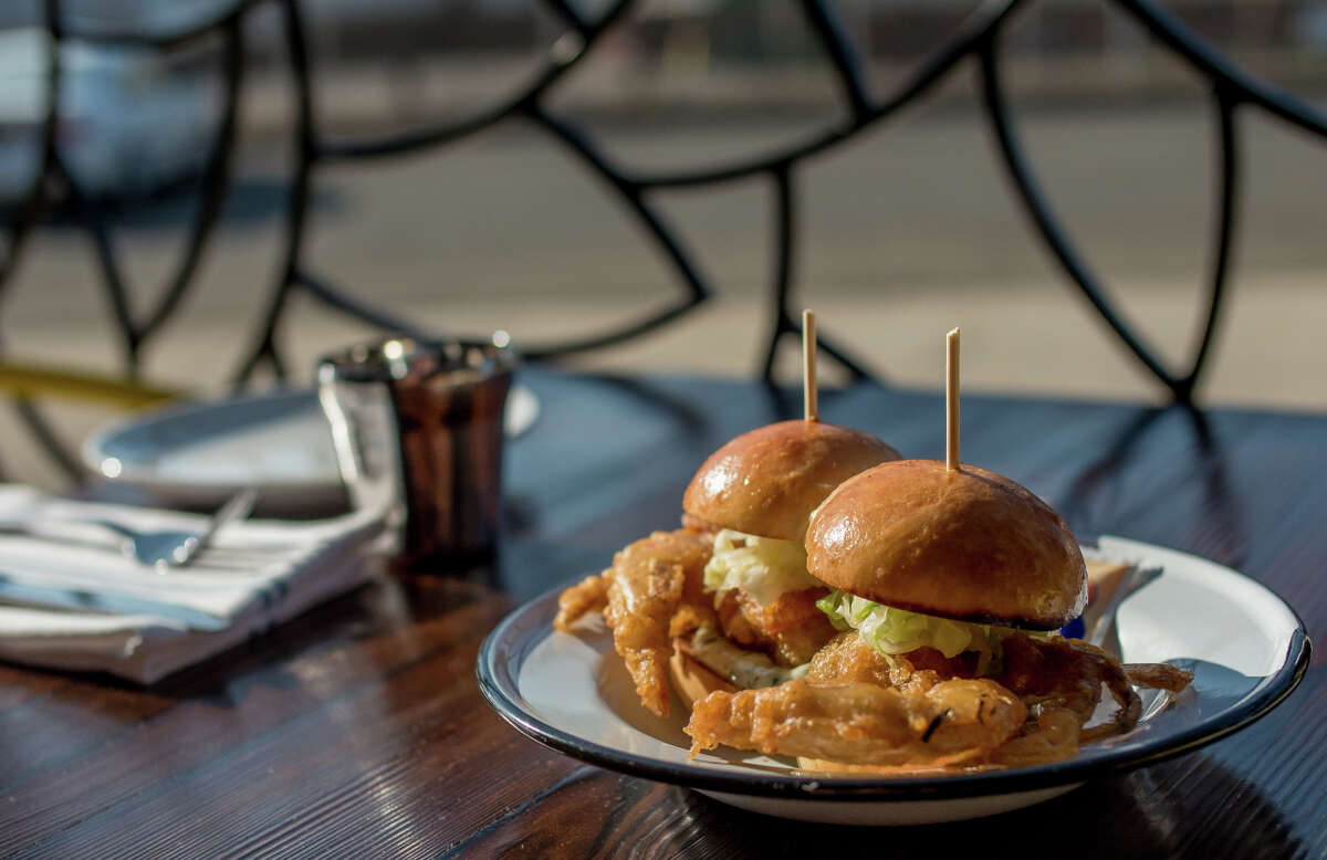 The Po' Boy Twins with Soft Shell Crab at the Dock at Linden Street in Oakland, Calif., is seen on Friday, August 8th, 2014.