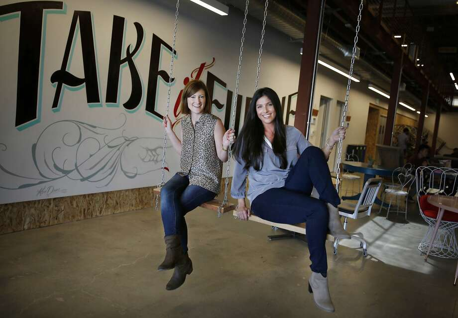 Michelle DiGiacomo (left) and Shana Larson serve as executive assistants to top company officials at San Francisco's Pinterest. Photo: Lea Suzuki, The Chronicle