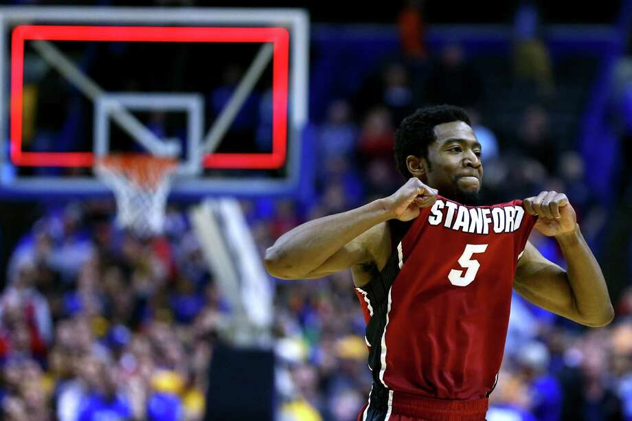 ST LOUIS, MO - MARCH 23:  Chasson Randle #5 of the Stanford Cardinal celebrates defeating the Kansas Jayhawks 60 to 57 during the third round of the 2014 NCAA Men's Basketball Tournament at Scottrade Center on March 23, 2014 in St Louis, Missouri.  (Photo by Dilip Vishwanat/Getty Images) *** BESTPIX *** Photo: Dilip Vishwanat, Getty Images / 2014 Getty Images