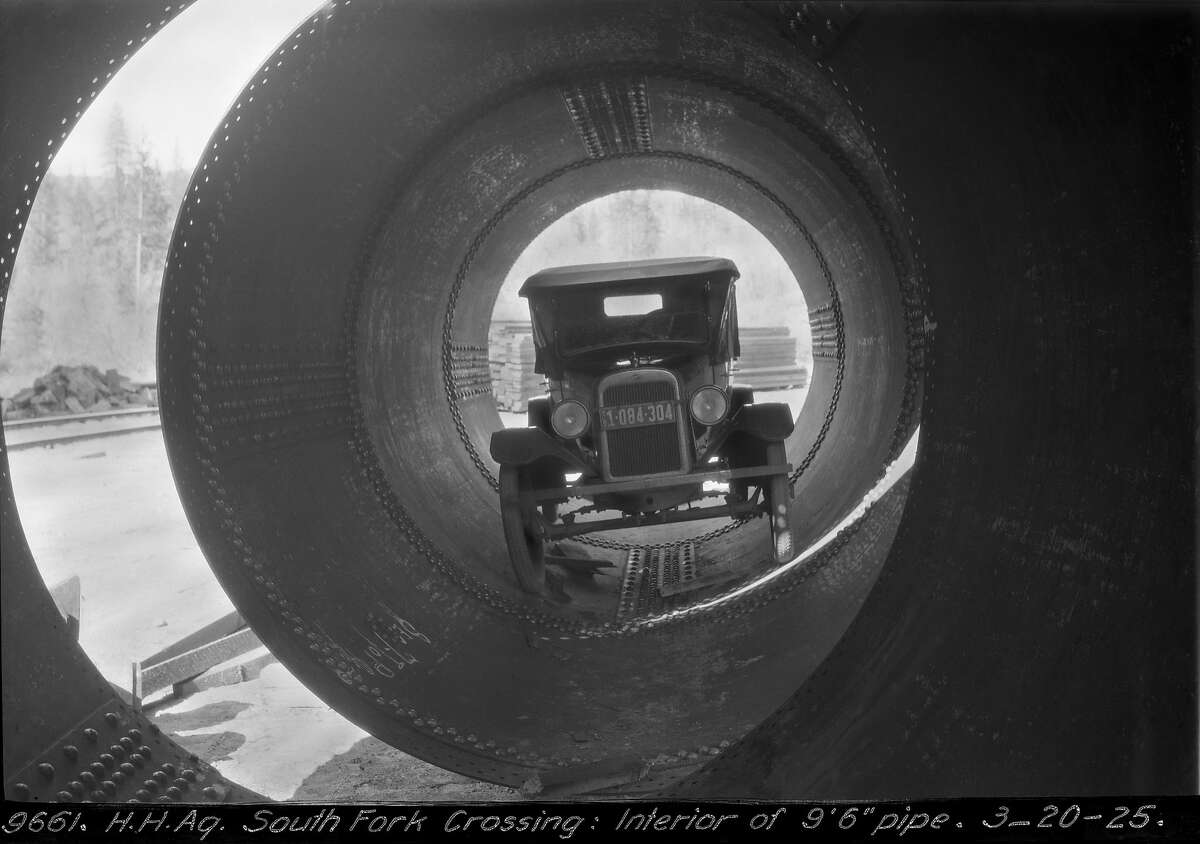 """Board of Public Works, Hetch Hetchy Aqueduct. South Fork crossing, Interior of 9'6"""" pipe."""