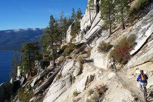 Biking the Tahoe Rim Trail.