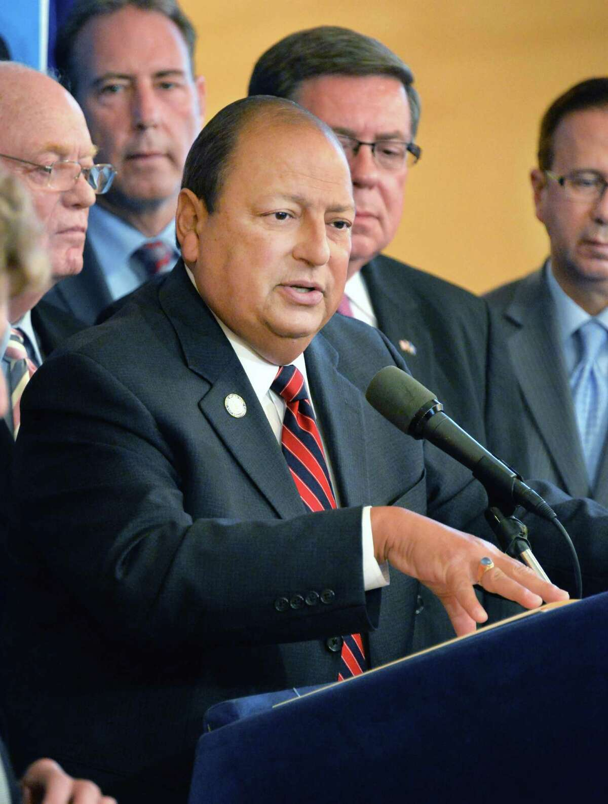 State Senator Tom Libous speaks during a news conference on the Public Assistance Integrity Act Tuesday, June 18, 2013, at the Capitol in Albany, N.Y. (John Carl D'Annibale / Times Union archive)