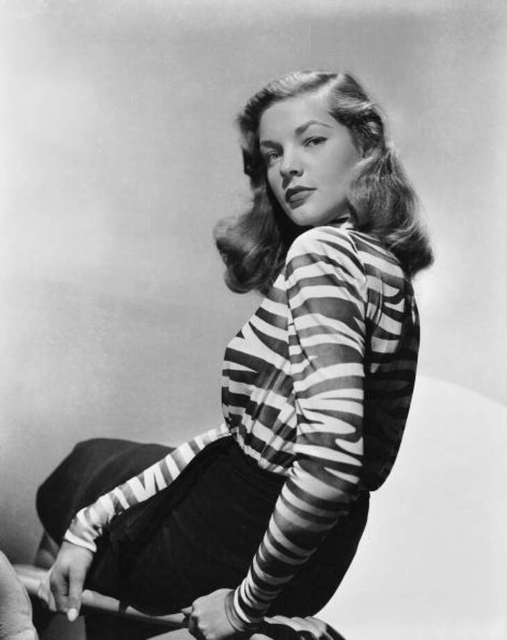 circa 1944:  American screen star Lauren Bacall, whose successful film career spans more than fifty years, wearing a zebra striped blouse.  (Photo via John Kobal Foundation/Getty Images) Photo: John Kobal Foundation, Getty Images / Moviepix