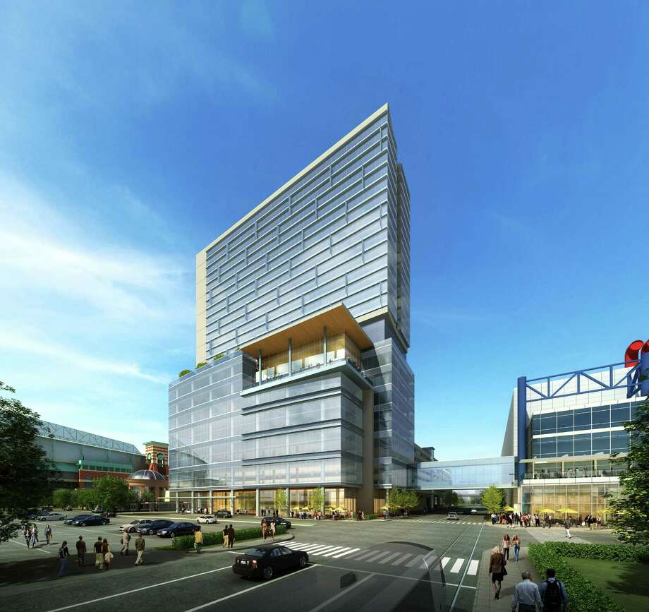 Houston First is sending out proposals to developers for a hotel that would be built on top of the recently announced Greater Houston Partnership Building and parking garage that will be north of the George R. Brown Convention Center. Photo: Courtesy WHR Architects / ONLINE_YES