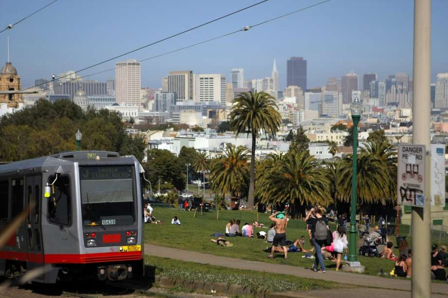 The J - ChurchThis train stops near fun neighborhoods like the Mission and Noe Valley, but the main reason to take it is for the gorgeous view from the southwest corner of Dolores Park. Photo: Erik Verduzco, The Chronicle
