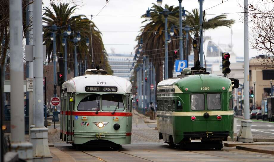 The F-Market & WharvesHistoric streetcars have muscled their way back into S.F., proving so popular during 1980s festivals that a regular route from Market St. to the Castro was opened in 1995, then expanded to Fisherman's Wharf in 2000. And for good reason: Sights along the Embarcadero, a stop right in front of the Ferry Building, and a leisurely trip up Market St. make for a great day out. Photo: Carlos Avila Gonzalez, The Chronicle