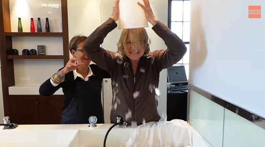 Martha Stewart dumps a bucket of ice on herself as part of the viral ice bucket challenge. Photo: Molina, Maribel, YouTube