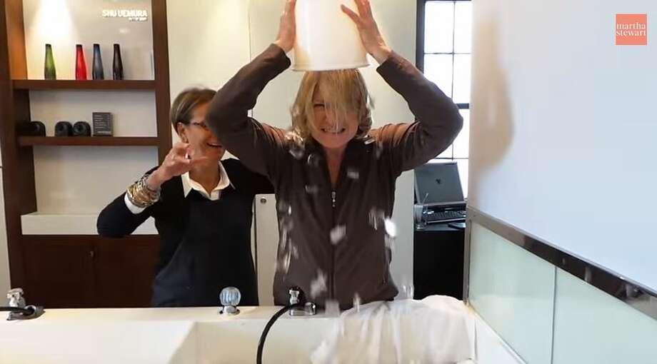 Martha Stewart dumps a bucket of ice on herself as part of the viral ice bucket challenge. Photo: Molina, Maribel, YouTube