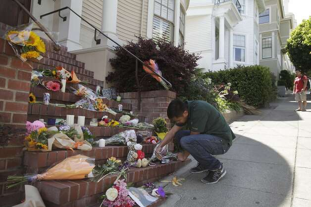 "Chris Villanueva, 24, lights candles at a temporary shrine that has come into existence in the past 24 hours since the news of Robin Williams' death has spread August 12, 2014 at the home where ""Mrs. Doubtfire"" was filmed in San Francisco, Calif. Williams was found dead in his home on Monday. ""He was able to give the bay area some pride."" Villanueva said. Photo: Leah Millis, The Chronicle"