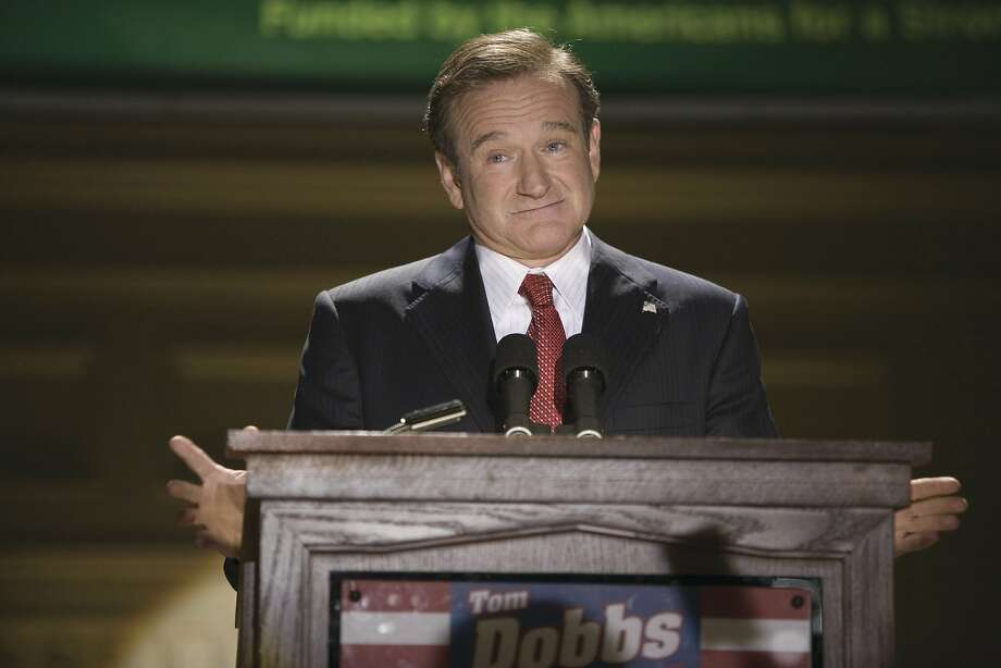 "Robin Williams as comedian-turned-candidate Tom Dobbs in ""Man of the Year,"" 2006. Photo: Photo Credit: Ava Gerlitz / Univ"