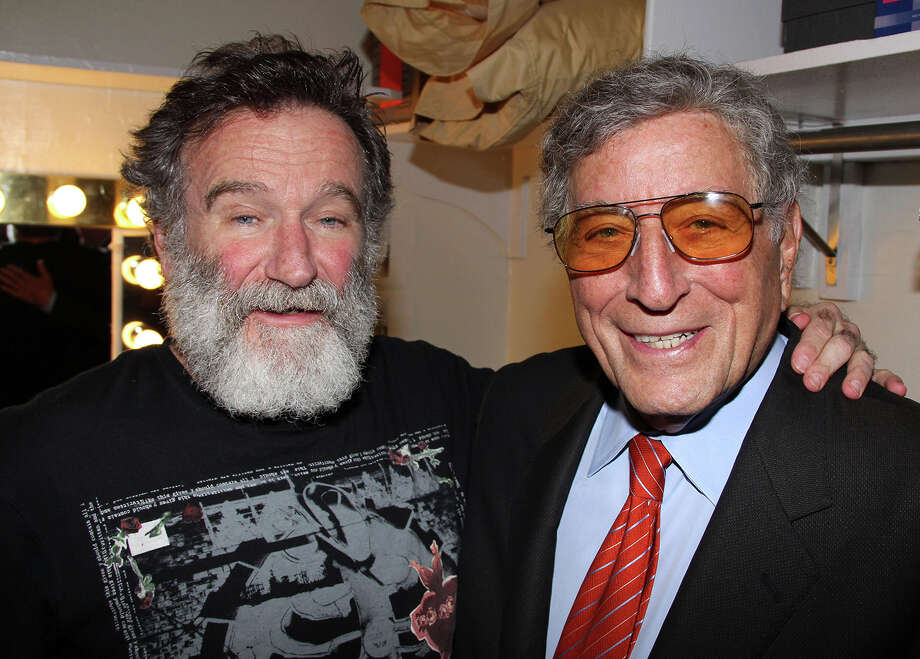 "Robin Williams and Tony Bennett pose backstage at the hit play ""Bengal Tiger At The Baghdad Zoo"" on Broadway at The Richard Rogers Theater on May 4, 2011 in New York City. Photo: Bruce Glikas, Getty Images / 2011 Bruce Glikas"