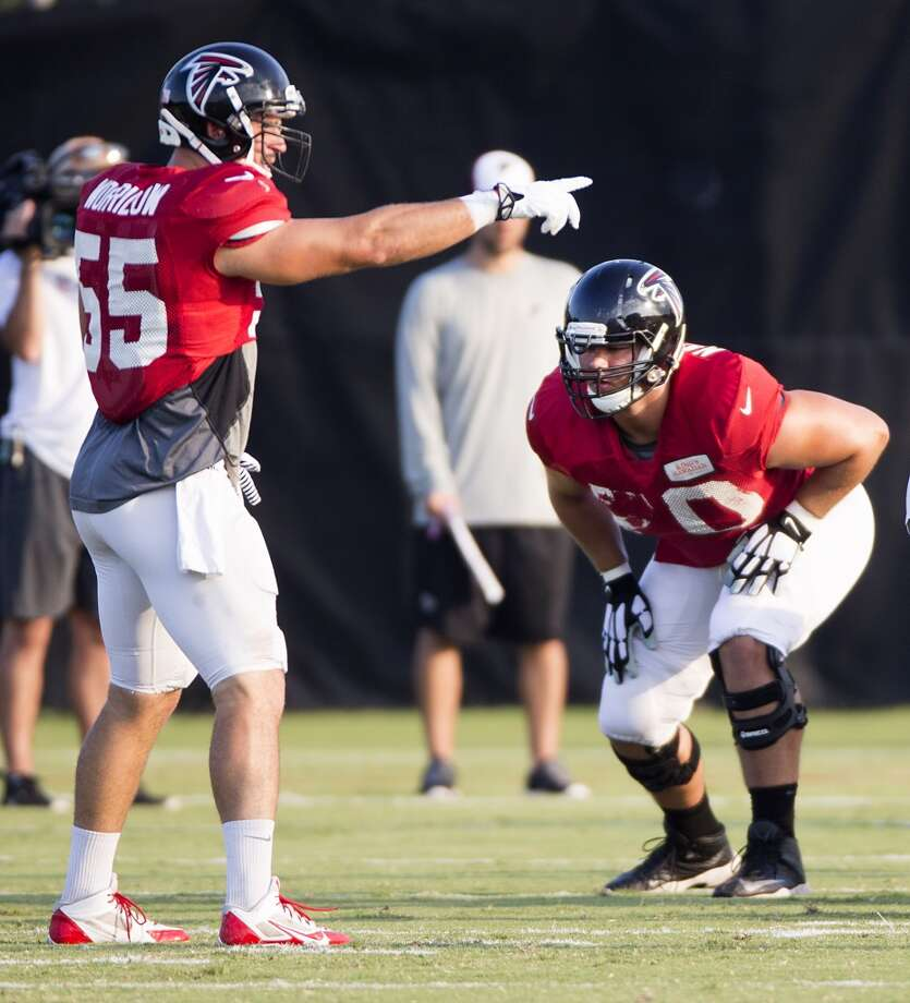 Atlanta Falcons outside linebacker Paul Worrilow (55) and tackle Jake Matthews (70). Photo: Brett Coomer, Houston Chronicle
