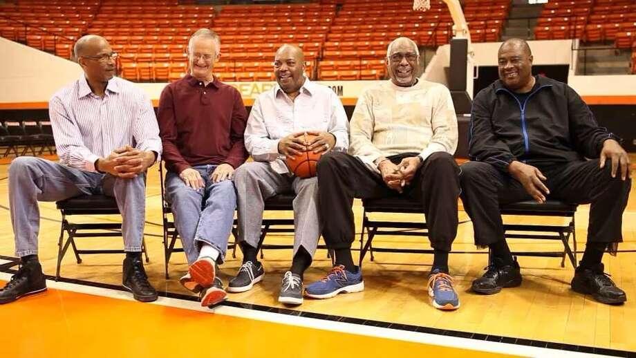 Flloyd Allen, Jim Krier, Curtis Dillion, Ron Battle and Robert White former Sam Houston State University athletes from 1972/73 Championship Basketball team.