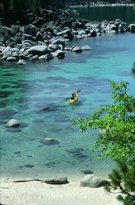 Kayaking Lake Tahoe.