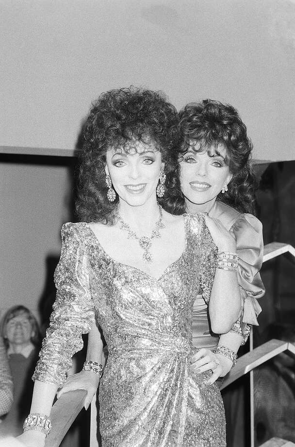 Actress Joan Collins meets her waxwork model at Madame Tussaud's in London, England on March 17, 1989. Photo: Express, Getty Images / 2010 Getty Images