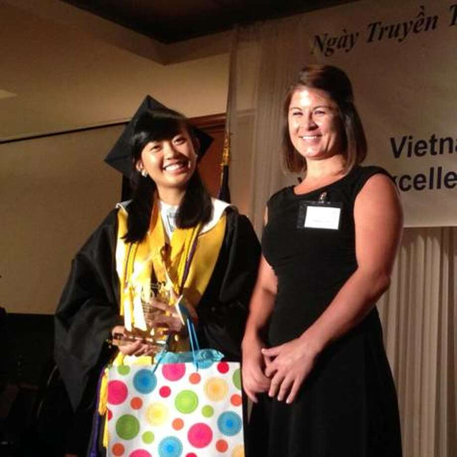 Spring Woods High School graduate Bao Tran Ma and her high school counselor, Melissa Lynch, attended the Youth Excellence Recognition Luncheon. Photo: Spring Branch ISD