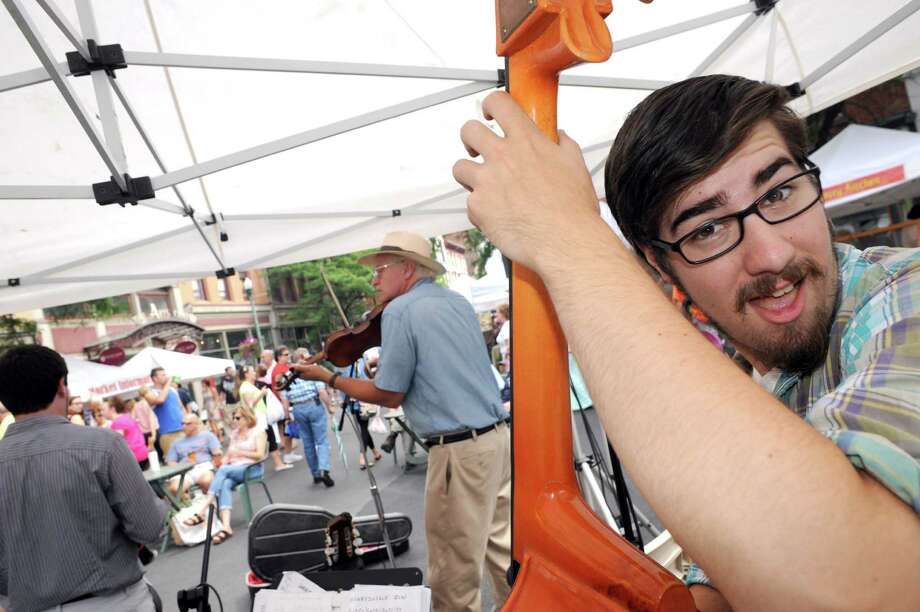 Bassist Mike Jenkins plays with the C.C. Vagabonds  at the Troy Farmers Market on Saturday Aug. 2, 2014 in Troy, N.Y.  (Michael P. Farrell/Times Union) Photo: Michael P. Farrell / 00028021A