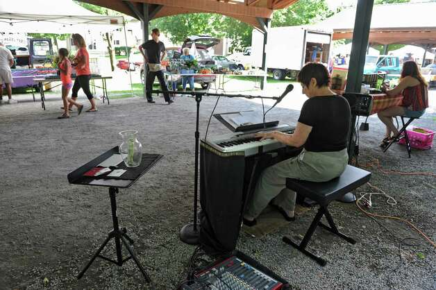 Jazz pianist and singer Nancy Waldman performs a free afternoon concert during the Saratoga Springs Farmers Market at High Rock Park on Wednesday, July 30, 2014 in Saratoga Springs, N.Y.  (Lori Van Buren / Times Union) Photo: Lori Van Buren / 00027976A